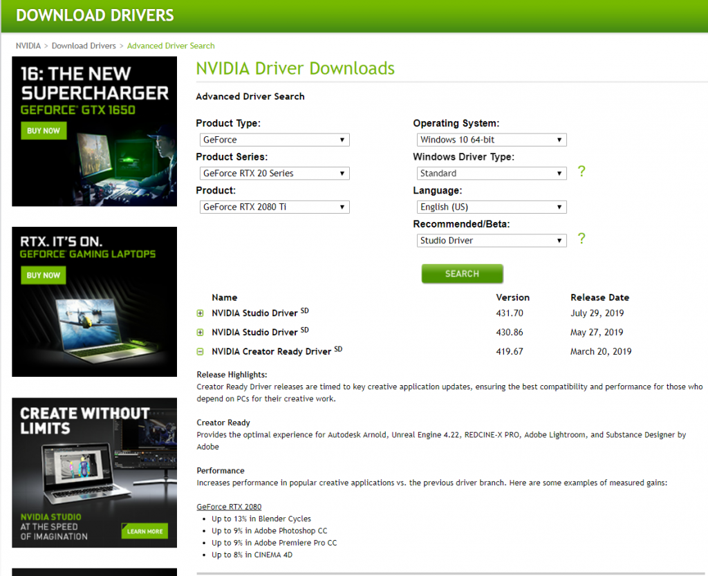 NVIDIA Studio Driver vs  GeForce Game Ready Driver Performance