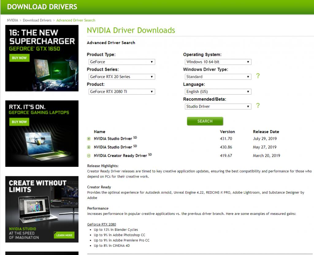 NVIDIA Studio Driver vs  GeForce Game Ready Driver Performance